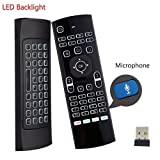 Dupadstory Voice Air Remote Mouse MX3 Pro,2.4G Backlit Kodi Remote Control,Mini Wireless Keyboard & Infrared Remote Control Learning, Best For Android Smart TV Box HTPC IPTV PC Pad Xbox Raspberry pi 3 (Color: Backlit with Voice)