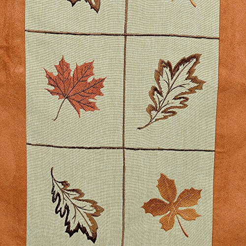 Inspired treasure quot table runner embroidered leaves