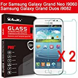 Anoke® Samsung i9060 i9082 Tempered Glass Front LCD Screen Protectors 9h Hardness, 2.5d Rounded Edges, 0.3mm Thickness for Samsung Galaxy Grand Neo I9060 Samsung Galaxy Grand Duos i9082 i9080 GT-I9082 new