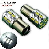 Ruiandsion 2pcs 1157 BAY15D Car Led Light bulbs AC/DC 6V Volt 17SMD 5630 LED for Back Up Light Reverse Lights Brake Lights Turn Signal Bulbs Fit Positive Earth and Negative Eearth (1157 6V AC/DC) (Color: White, Tamaño: 1157 6V AC)