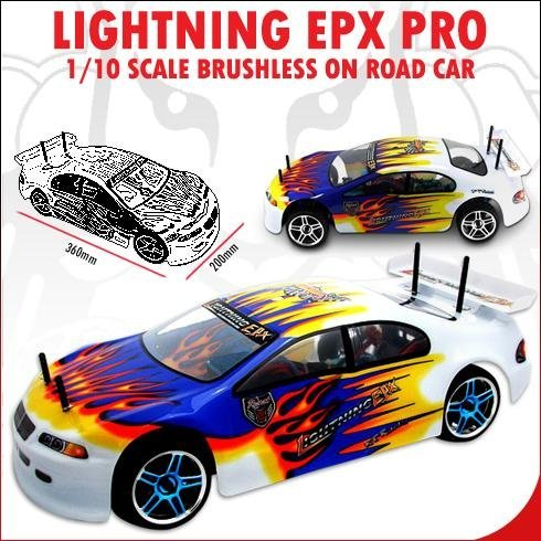 LIGHTNING EPX PRO ~ ROAD CAR ~ (Now With 2.4 GHz Radio) 1/10 SCALE RC ~ BRUSHLESS ELECTRIC ~ By REDCAT RACING ~ BLUE/YELLOW