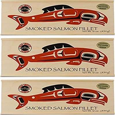 Portlock Wild Smoked Salmon in a Beautiful Wood Box - Net Weight 16 oz - Kosher Chof-K from Trident Seafoods Corporation