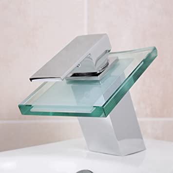 Design wasserhahn glas wasserfall bad armatur inkl for Design wasserhahn bad