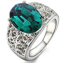 buy Swarovski Elements Green ''Volante'' Ring Rhodium Plated (6)