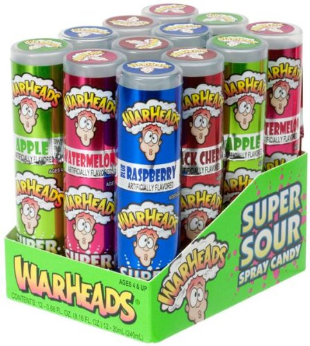 Warheads Super Sour Spray Candy Watermelon Cherry Green ...