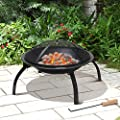 VonHaus Fire Pit Folding Garden BBQ Bowl Outdoor Camping Log Charcoal Patio Heater + FREE Carry Bag