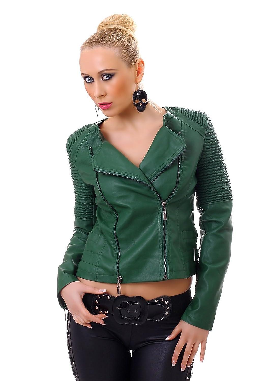 Damen Kurzjacke Kunstleder-Jacke Jacket langarm Biker Stil bestellen