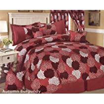 7 Pcs Wild Autumn Flowers Comforter Set Bed In A Bag Queen Burgundy/Silver/Brown