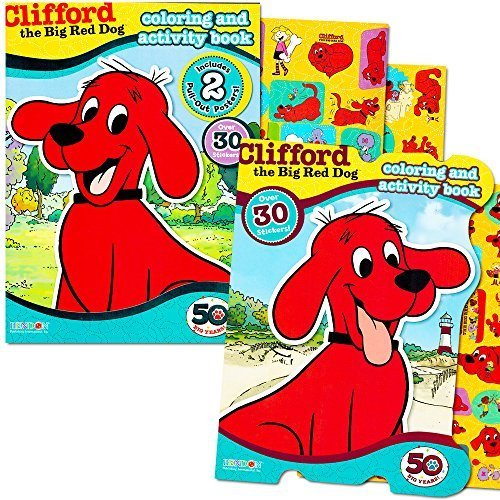 Clifford the Big Red Dog Coloring Book Super Set -- 2 Coloring and Activity Books, 2 Posters and Stickers (Clifford Party Supplies compare prices)