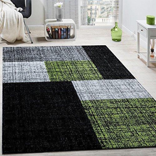 designer teppich modern kurzflor karos und rechtecke meliert grau schwarz gr n gr sse 80x150 cm. Black Bedroom Furniture Sets. Home Design Ideas