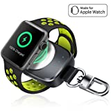 Wireless iPhone Watch Charger [ MFi Certified], Portable iwatch Charger 700mAh Smart Keychain Power Bank, Compatible Watch Series 4, 3, 2, 1 & Nike 38/42mm Watch Charger for Travel (Color: grey)