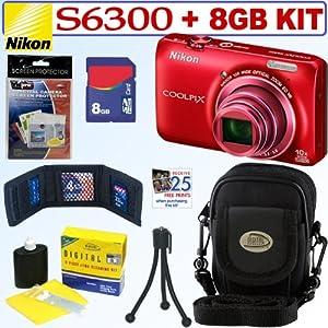 Nikon COOLPIX S6300 16 MP Digital Camera (Red) + 8GB Accessory Kit
