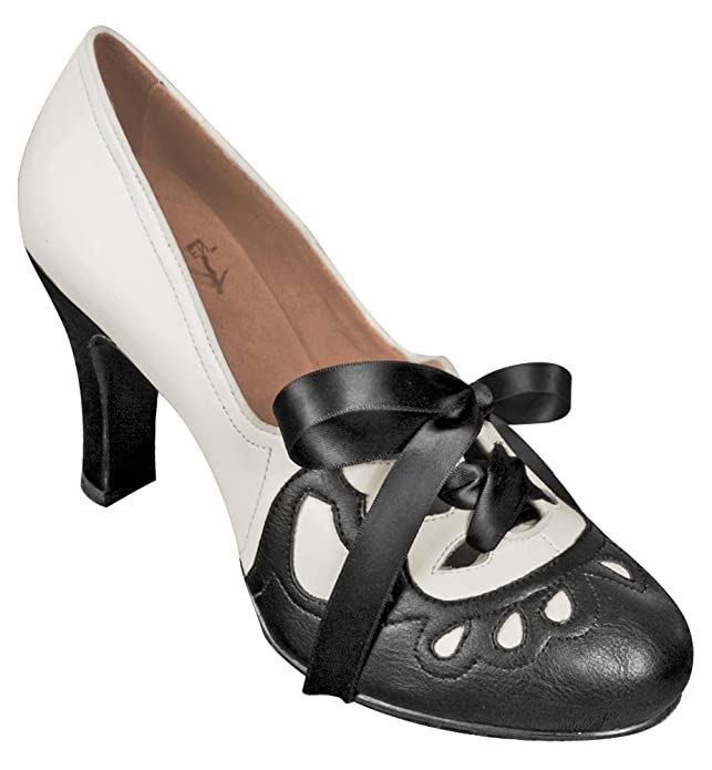 Aris Allen Womens 1930s Black and Ivory Lace-up Heeled Oxford Shoes $64.95 AT vintagedancer.com