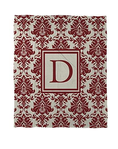 Thumbprintz Duvet Cover, Twin, Monogrammed Letter D, Crimson Damask front-62018