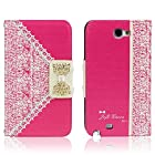 ABC Hot Pink Fashion Girl Woman Fresh Sweet Cute Flip Wallet Leather Case Cover for Samsung Galaxy Note 2 N7100