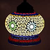 EarthenMetal Handcrafted Mughal Crown Shaped Mosaic Decorated White Glass Hanging Light