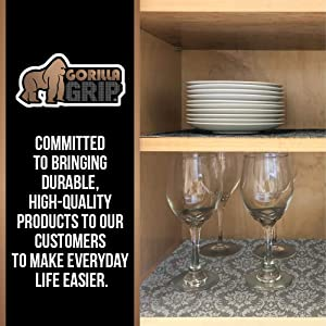 Gorilla Grip Original Smooth Top Slip-Resistant Drawer and Shelf Liner, Non Adhesive Roll, 20 Inch x 10 FT, Durable Kitchen Cabinet Shelves Liners for Kitchens Drawers and Desks, Damask Beige (Color: Damask: Beige, Tamaño: 20 x 10')