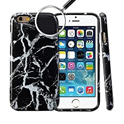 iPhone 6 Case, GMYLE Hybrid Case Slide for iPhone 6 / 6s (4.7 Display) - Black Marble Pattern Hybrid TPU Protective Hard Shell Back Case