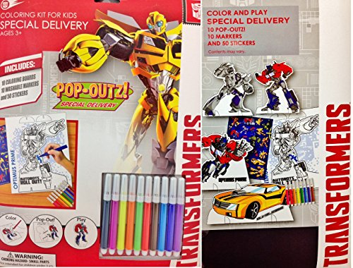 Transformers Coloring Kit for Kids Featuring Pop-Outs for Play!