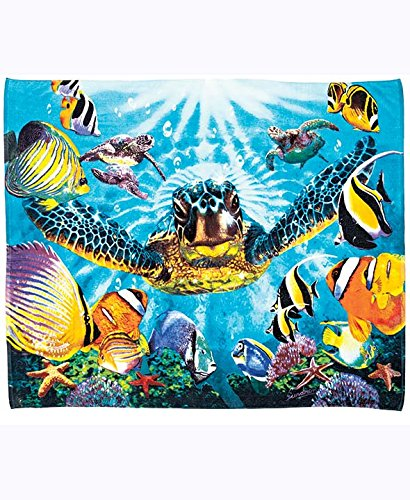 "Large Oversized 54"" x 68"" Beach Towel for Two Vibrant Tropical Sea Turtle Design"