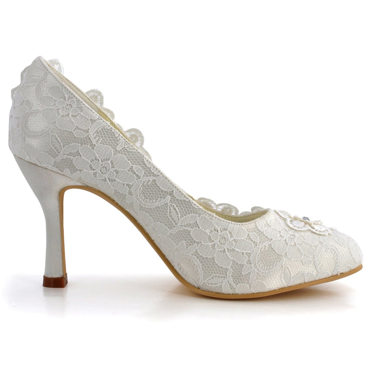 ElegantPark Women Vintage Closed Toe Pumps High Heel Flowers Lace Wedding Bridal Dress Shoes 3