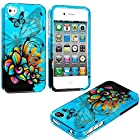 myLife Blue Graffiti Flowers and Butterflies Series (2 Piece Snap On) Hardshell Plates Case for the iPhone 4/4S (4G) 4th Generation Touch Phone (Clip Fitted Front and Back Solid Cover Case + Rubberized Tough Armor Skin)