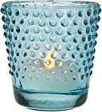 Luna Bazaar Candle Holder (2.5-Inch, Hobnail Design, Turquoise Blue Vintage Glass) - For Home Decor and Wedding Decorations - For Use with Tea Light Candles