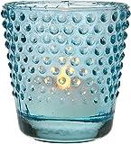 Luna Bazaar Hobnail Design Vintage Glass Candle Holder (2.5-Inch, Turquoise Blue)