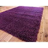 EXTRA LARGE PURPLE MEDIUM NEW MODERN SOFT THICK SHAGGY RUGS NON SHED RUNNER MATS 120 X 170 CM (4 FT X 5 FT 7)FREE UK MAINLAND DELIVERY