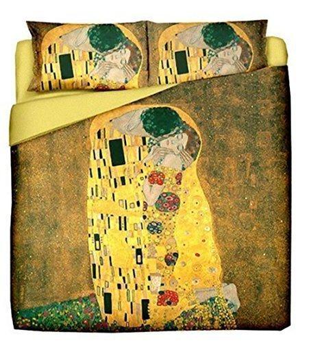 GUSTAV KLIMT IL BACIO Copripiumino Matrimoniale stampa digitale + due federe coordinate idea regalo per San Valentino - Saint Valentine home in love