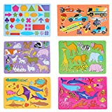 Economy Drawing Stencils Art Set of 6 for Kids - Educational Toy, for Travel and Gifts for Toddler, Girls, and Boys - Creative tool for Advancement -120 Shapes, Sea Animals, Farms, Vehicles