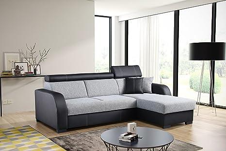 Couch mit Schlaffunktion Eckcouch Ecksofa Polstergarnitur Wohnlandschaft - COBBY (Ecksofa Rechts, Schwarz)