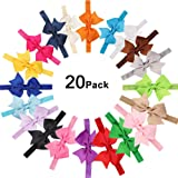 20Pcs Baby Girl Headbands with Bow Cute Elastic Hair Wrap for Newborn Infant Toddler (Color: Multicolored, Tamaño: Medium)