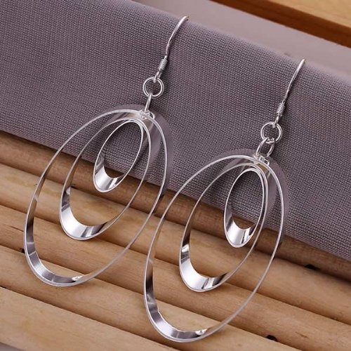 925 Silver Plated Earrings Three Round Rings Ear Drop Jewelry By Chonlyshop