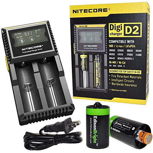 Nitecore D2 Smart Charger With Lcd Display For Li-Ion, Imr, Lifepo4 26650 22650 18650 17670 18490 17500 18350 16340 Rcr123 14500 10440 Ni-Mh And Ni-Cd Aa Aaa Aaaa C Rechargeable Batteries With 2 X Edisonbright Aa To D Type Battery Spacer/Converters