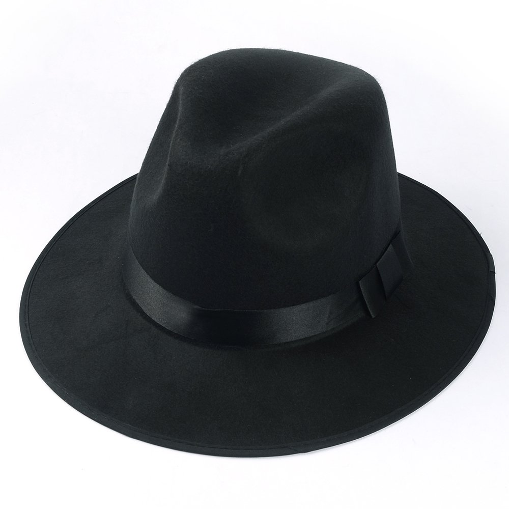 Medium Vintage Style Men's Hard Felt Wide Brim Fedora Trilby Panama Hat 0