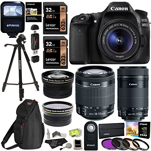 Canon-EOS-80D-Digital-SLR-Kit-with-EF-S-18-55mm-f35-56-Image-Stabilization-STM-Canon-EF-S-55-250mm-Lens-Polaroid-43x-Super-Wide-Angle-22X-HD-Telephoto-Lens-Memory-Cards-Accessory-Bundle