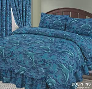 Dolphin, Sea / Ocean / Waves / Splash Blue, Double Bed Duvet / Quilt Cover + Fitted Valance Sheet + 2 Pillowcases Complete Bedding Set