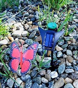 URBAN Decorative Solar Fluttering Garden Ornament - Red Butterfly SO348R