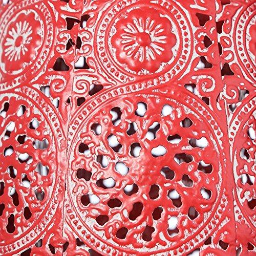 Portavelas étnico en metal rojo (15x15x8,5 cm)