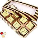 Ghasitaram Gifts Bhaidooj Gold And Brown Roasted Almond Chocolate Box