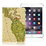MS factory iPad mini2 mini3 Retina ヴィンテージ 地図柄 PU レザーケース PUレザーカバー スタンド mini 2 3 レザー カバー ケース 全3色 ベージュ mR-map-BG