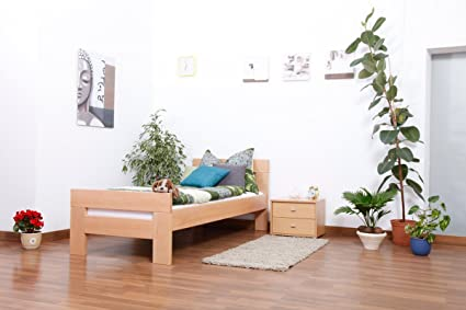 "Lit simple ""Easy Sleep"" K2, hêtre naturel massif - Dimensions: 90 x 190 cm"