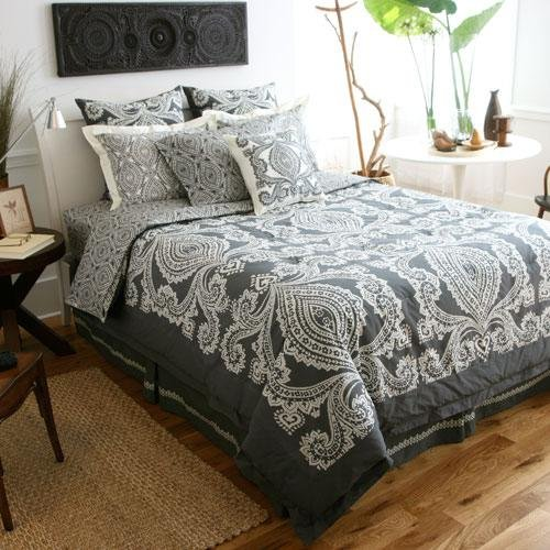Amy Butler Bucharest Constanta Comforter, Smart Bed Skirt, and Sham Set - Black/Gray - Full/Queen
