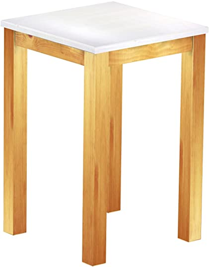 Brasil High Table 'Rio' 73 x 73 cm Solid Pine Wood, Colour: Snow, Honey