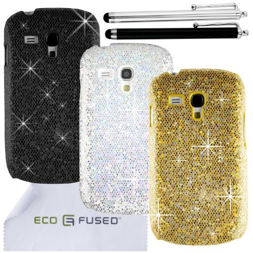 Eco-Fused Case Bundle for Samsung Galaxy S3 Mini (I8190) Case Bundle including 3 Bling Glitter Hard Cases / 2 Stylus Pens / 2 Screen Protectors / Microfiber Cleaning Cloth - Perfect for Girls (Samsung Galaxy Mini Girl Cases compare prices)