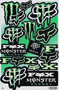 Monster Energy Graphic Racing Sticker Decal Motorcycle ATV 1 Sheet Green/Yellow ME009