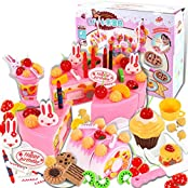 75 Pcs Birthday Cake Pretend Play Food Toy Set, Yifan Plastic Kitchen Cutting Toy For Kids Girls Pink