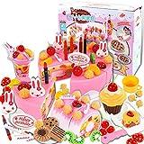 Finer Shop 75Pcs Plástico de la Cocina de Corte de la Torta de Cumpleaños del Juguete Juego de Imaginación Alimentación Conjunto de Juguete para los Niños de las Muchachas - Rosa