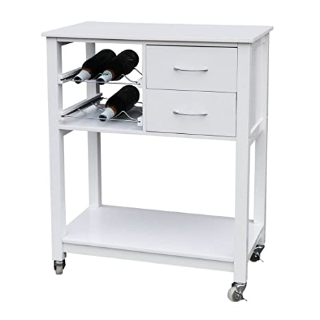 Protege Homeware White Veener Finish Kitchen Trolley